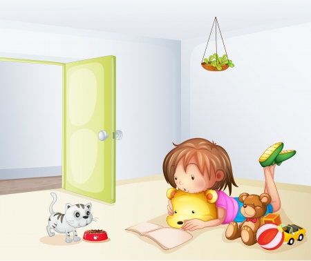 stuffed animals: Illustration of a girl inside a room with a cat and toys Illustration