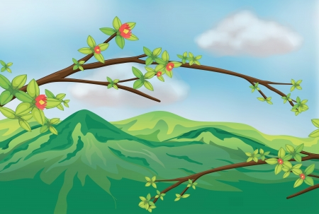 mountain view: Illustration of a view of a very high mountain Illustration