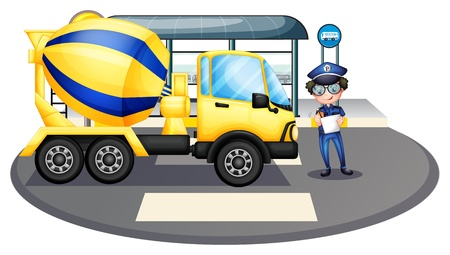 Illustration of a cement truck inspected by the policeman on a white background