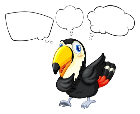 toekan: Illustratie van een vogel met de lege bijschriften op een witte achtergrond
