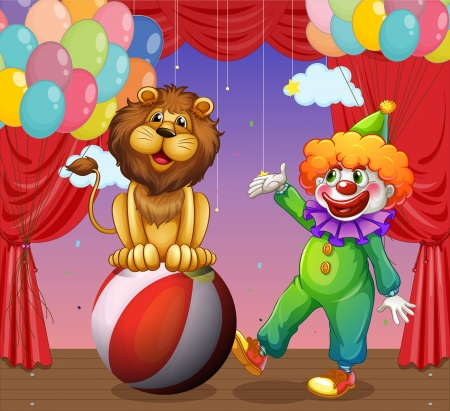 circus stage: Illustration of a lion and a clown at the circus