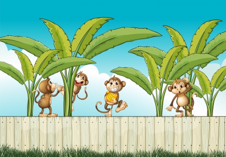 fenced: Illustration of a group of monkeys at the fence