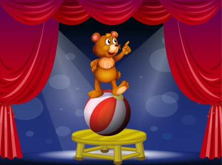 centerstage: Illustration of a bear at the circus show Illustration