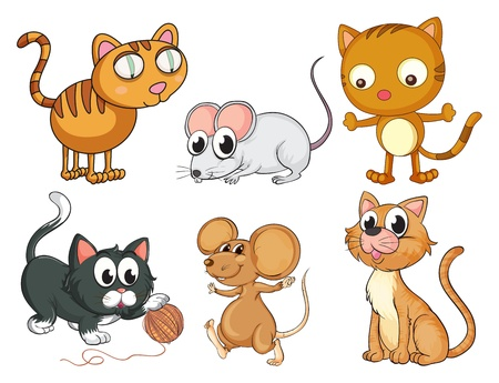 mouse animal: Illustration of cats and mice on a white background Illustration