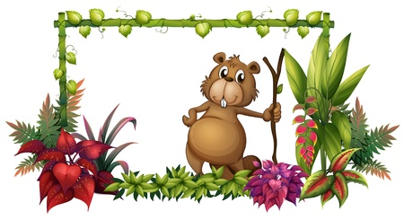nutria caricatura: Ilustración de un animal con un pedazo de madera sobre un fondo blanco