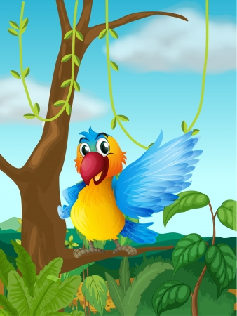 birds scenery: Illustration of a parrot at a branch of a big tree