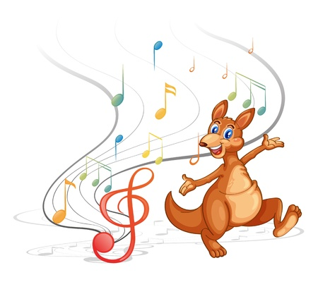 Illustration of a kangaroo with the musical notes on a white background Vector
