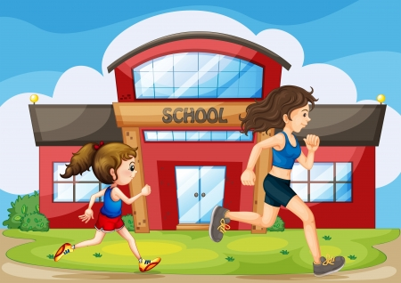 jogging in nature: Illustration of a kid and a woman running in front of the school