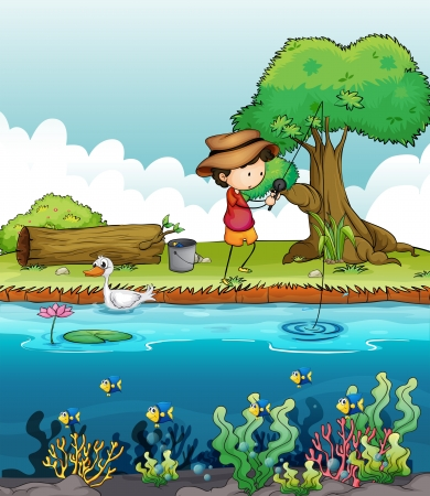 Illustration of a boy fishing Vector