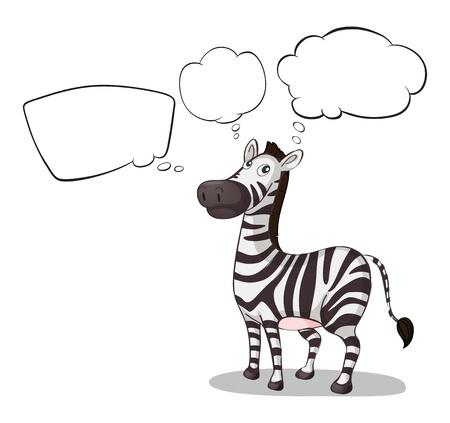 Illustrazione di una zebra pensiero su uno sfondo bianco