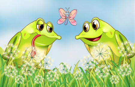 Illustration of two frogs and a butterfly at the garden Vector