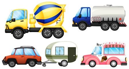 camión cisterna: Ilustración de los vehículos útiles sobre un fondo blanco