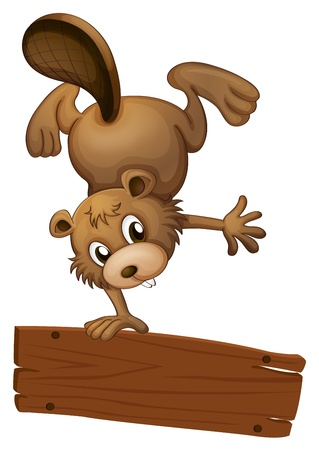 Illustration of a beaver and the empty board on a white background Vector