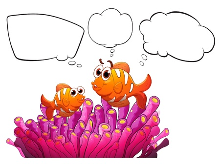thought bubble: Illustration of two fishes with empty thought on a white background