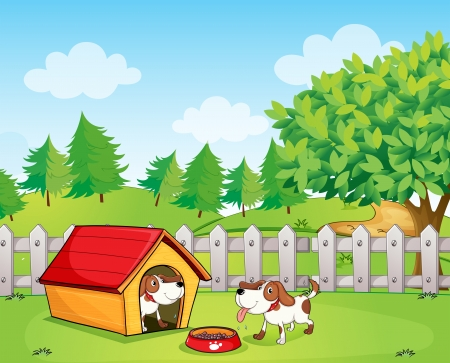 Illustration of two dogs inside the wooden fence Vector