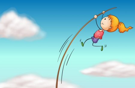 pole vault: Illustration of a girl hanging at a long stick