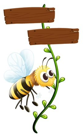 Illustration of a bee near a blank signboard on a white background Vector