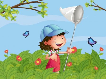 Ilustración de una niña con una gorra de la captura de mariposas en el jardín