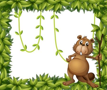 castor: Ilustración de un castor con un palo en un marco frondoso
