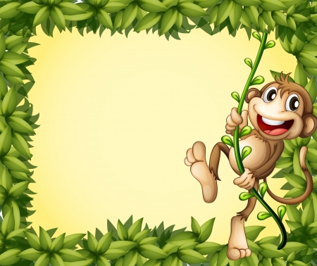 Illustration of the green border with a monkey Vector