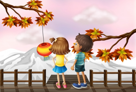 man looking at sky: Illustration of a young girl and a young boy at the bridge Illustration