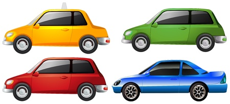 4 wheel: Illustration of the yellow, green, red and the blue car on a white background Illustration