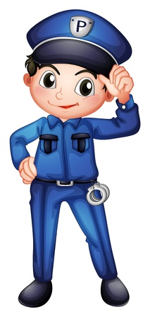 security service: Illustration of a policeman with a complete uniform on a white background Illustration