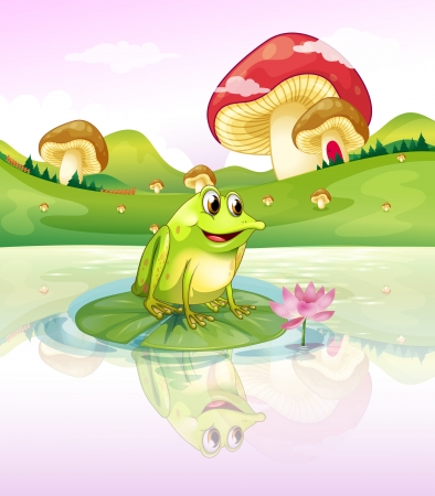 Illustration of a frog above a waterlily Vector