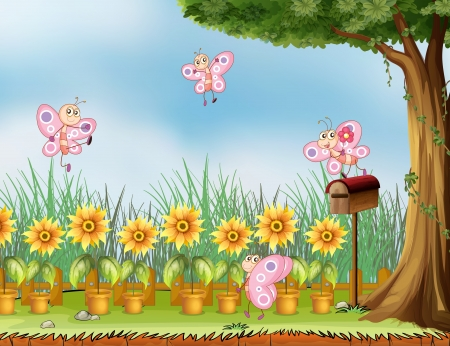 Illustration of four pink butterflies at the garden Vectores