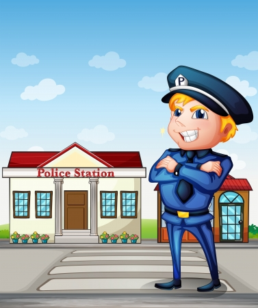 police cartoon: Illustration of a policeman across the police station Illustration