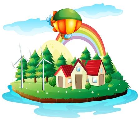 Illustration eines Dorfes in einer Insel auf dem weißen Hintergrund