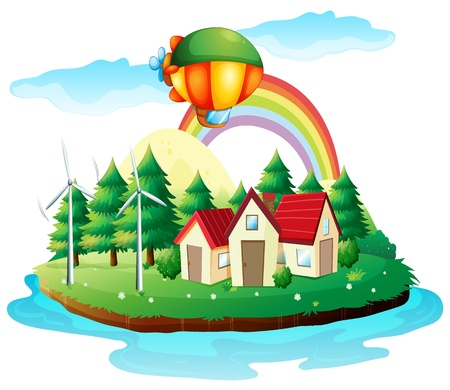 Illustration of a village in an island on a white background Vector