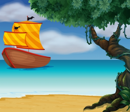 Illustration of a wooden boat near the shoreline Vector
