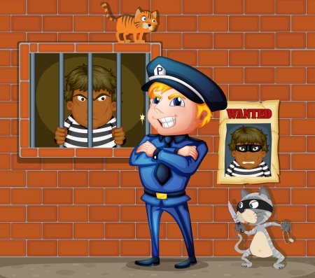 Illustration of a prisoner at the jail and the policeman Stock Vector - 17918514