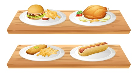 Illustration of two wooden trays with plates of foods on a white background Vector