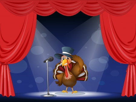 limelight: Illustration of a turkey with a hat at the center of the stage