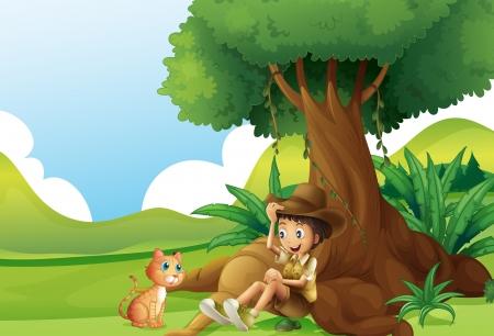 Ilustración de un muchacho joven y un gato bajo el gran árbol