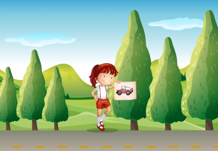 picutre: Illustration of a young girl with a picture of a vehicle Illustration