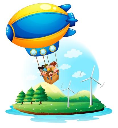 luftschiff: Illustration eines Luftschiffes mit Kindern �berfahren einer Insel auf dem wei�en Hintergrund Illustration