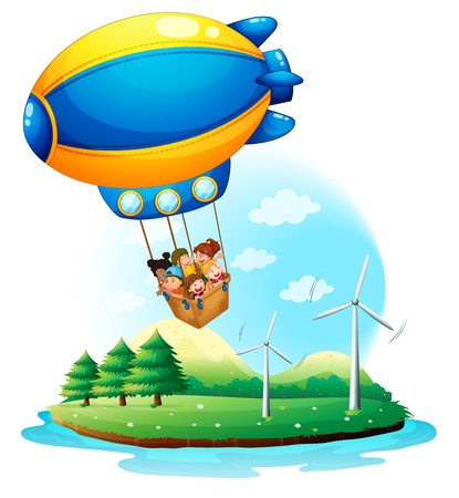 Illustration of an airship with kids passing over an island on a white background Vector