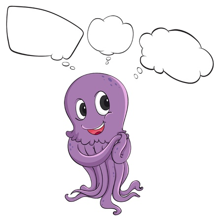 picutre: Illustration of a purple octopus thinking on a white background