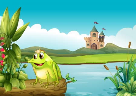 castle cartoon: Illustration of a frog with a crown