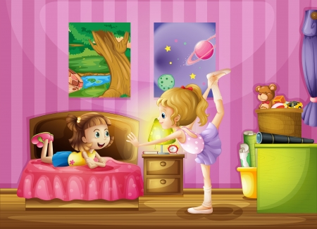bedroom wall: Illustration of two young girls inside a bedroom