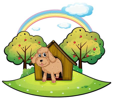 Illustration of a dog with a doghouse on a white background Vector