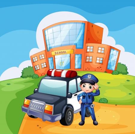 Illustratie van een patrouillewagen en de politieagent in de buurt van de school Vector Illustratie