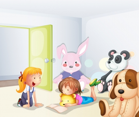 stuffed animals: Illustration of a room with kids and animals Illustration
