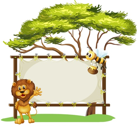 cartoon lion: Illustration of a bee and a lion and the empty signage on a white background