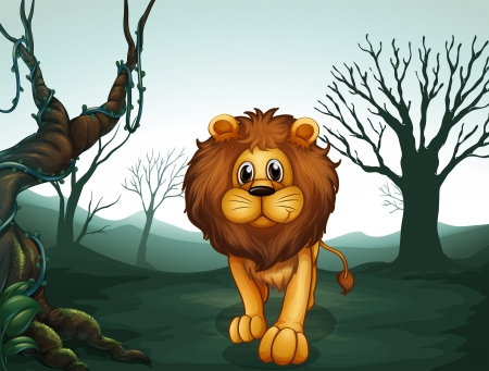 Illustration of a lion in a scary forest  Vector