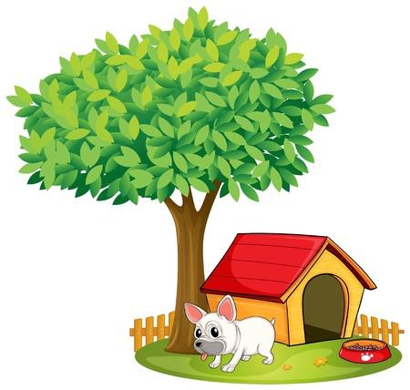 Illustrazione di un cane bianco su uno sfondo bianco