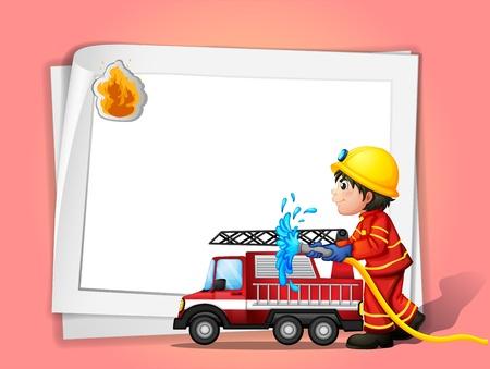 camion de bomberos: Ilustraci�n de un bombero en un fondo de color rosa